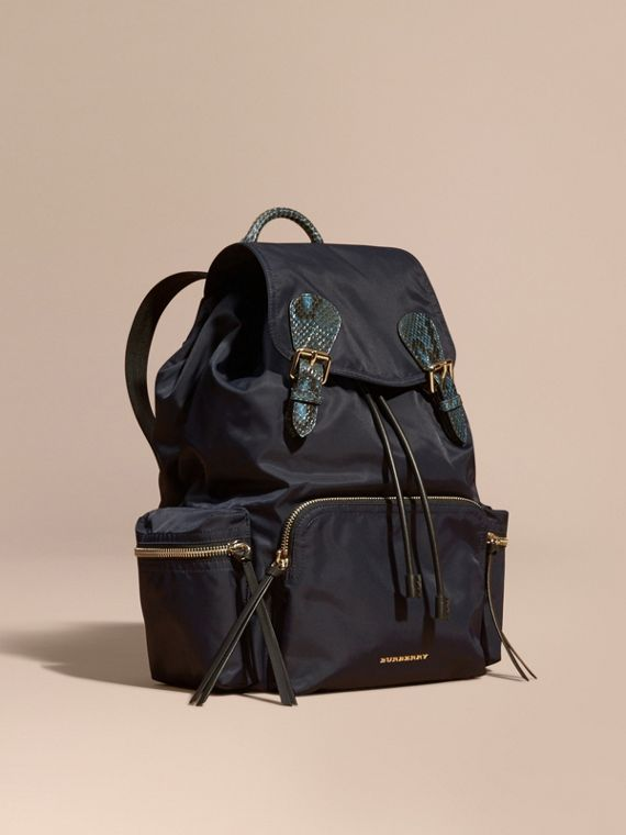 The Large Rucksack in Technical Nylon and Snakeskin Ink Blue/mineral Blue