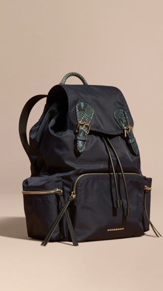 The Large Rucksack in Technical Nylon and Snakeskin