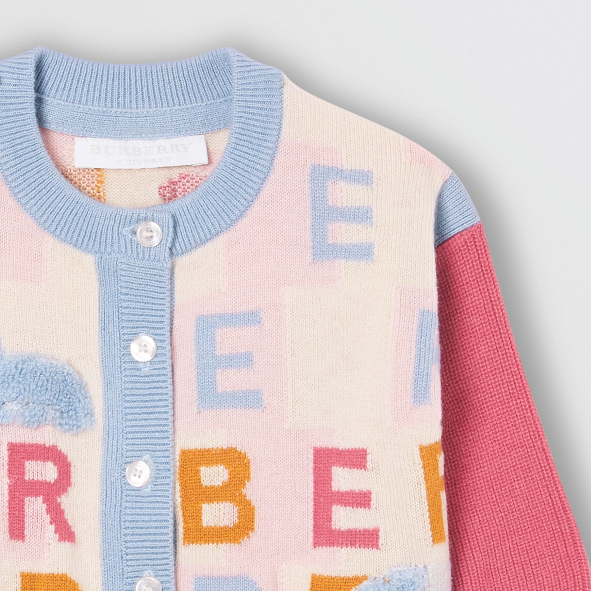 Logo Cashmere Jacquard Cardigan in Light Pink - Children | Burberry - gallery image 4