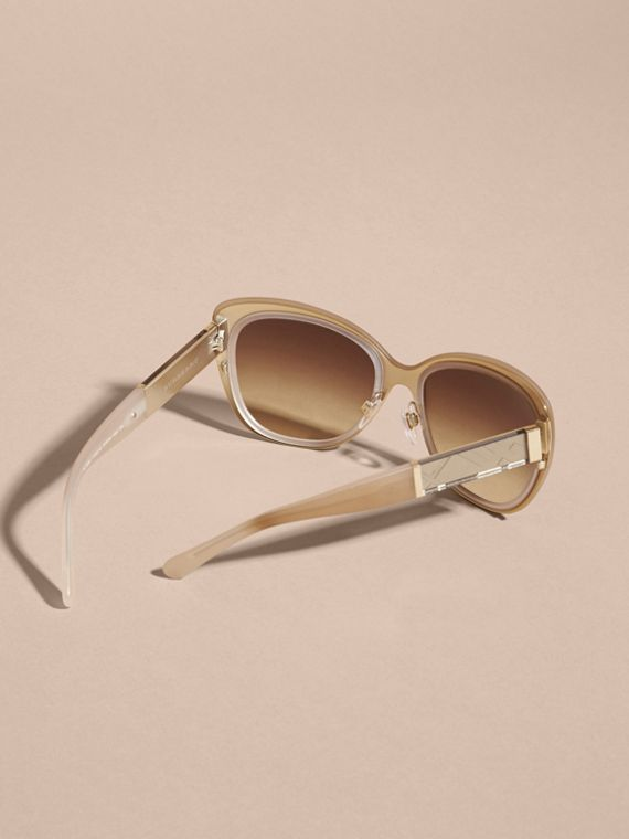 Check Detail Square Cat-eye Sunglasses in Chino Grey - cell image 3