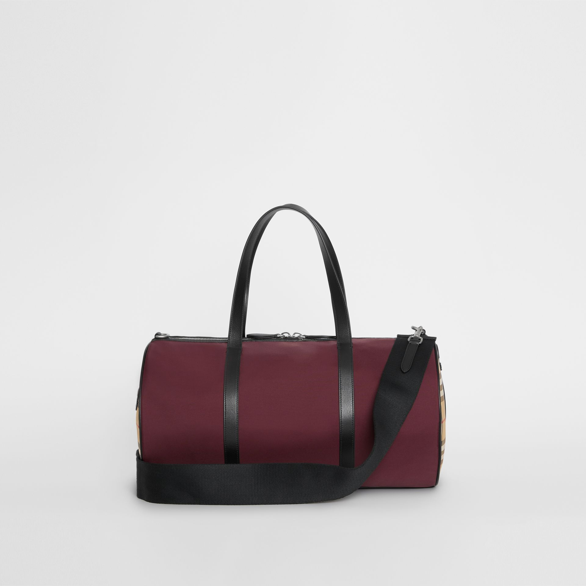 Medium Nylon and Vintage Check Barrel Bag in Oxblood - Men | Burberry - gallery image 7