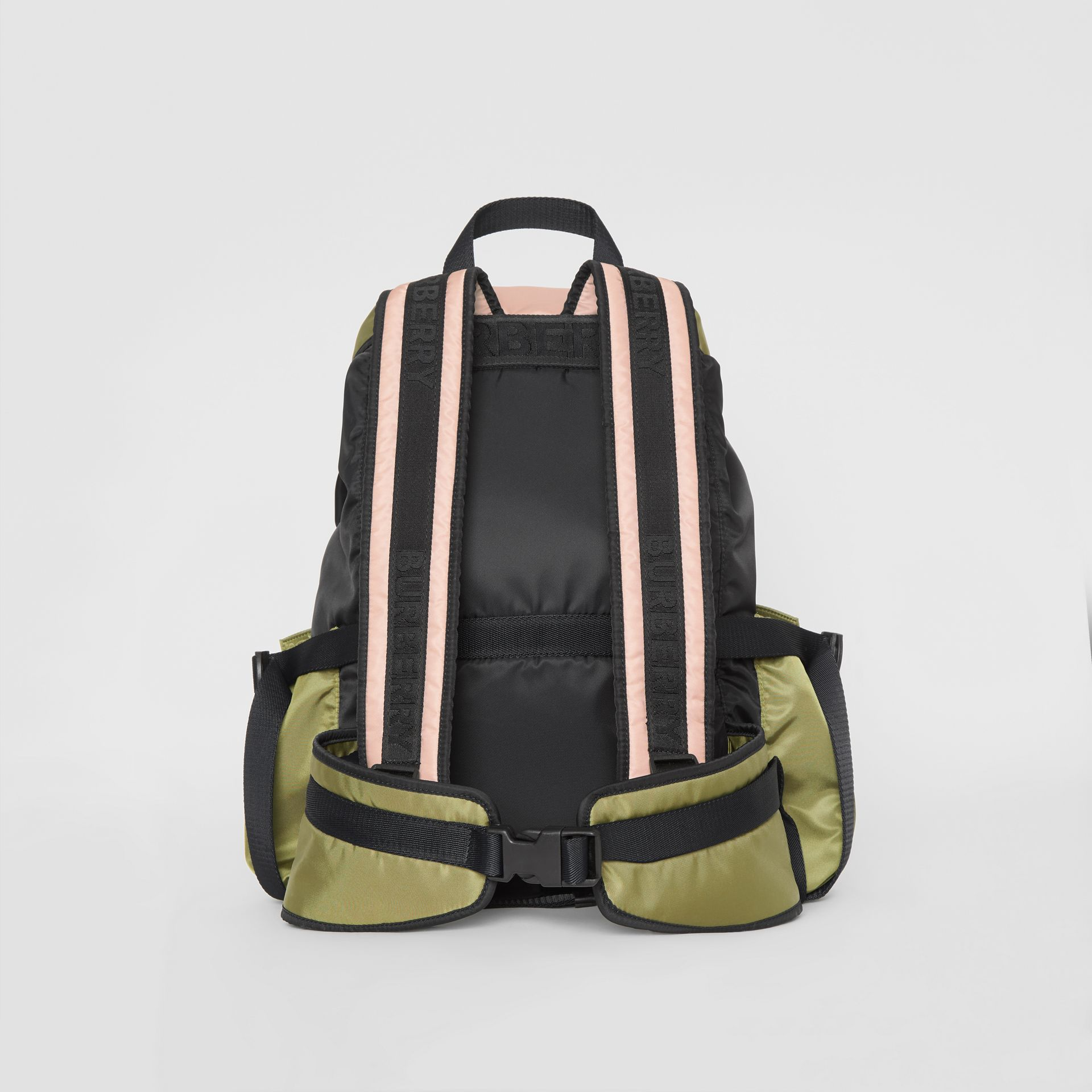 Logo Print Tri-Tone Nylon Backpack in Rose Beige - Women | Burberry United Kingdom - gallery image 5