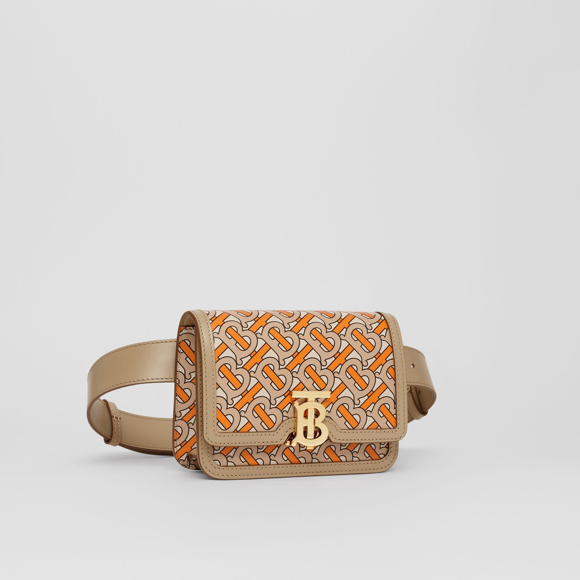 Belted Monogram Print Leather TB Bag in Bright Orange - Women | Burberry - gallery image 5