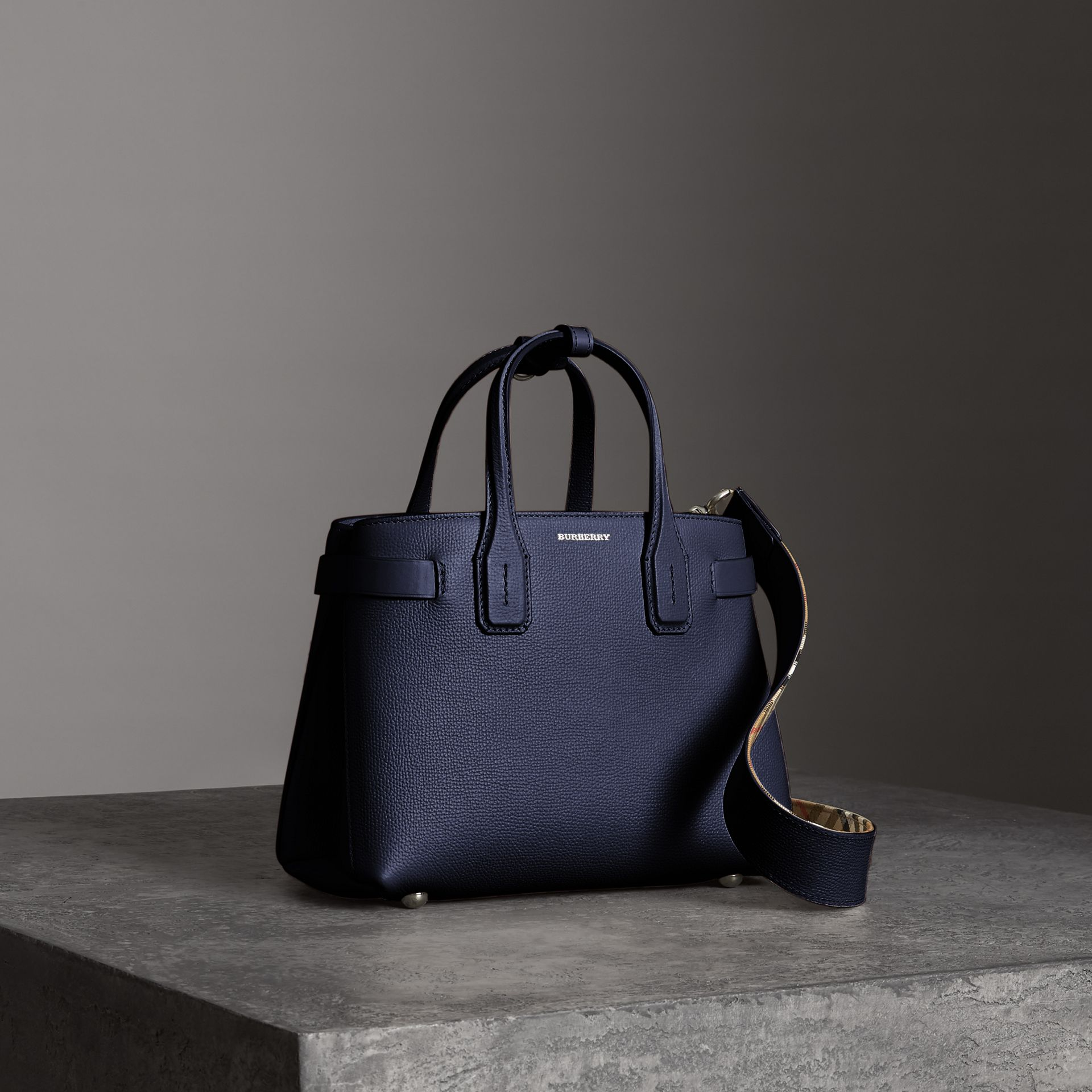 The Small Banner in Leather in Regency Blue - Women | Burberry - gallery image 0