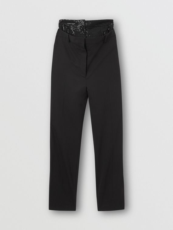 Sequinned Panel Double-waist Stretch Wool Trousers in Black