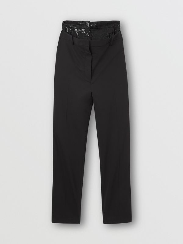 Sequinned Panel Double-waist Stretch Wool Trousers in Black - Women | Burberry - cell image 3