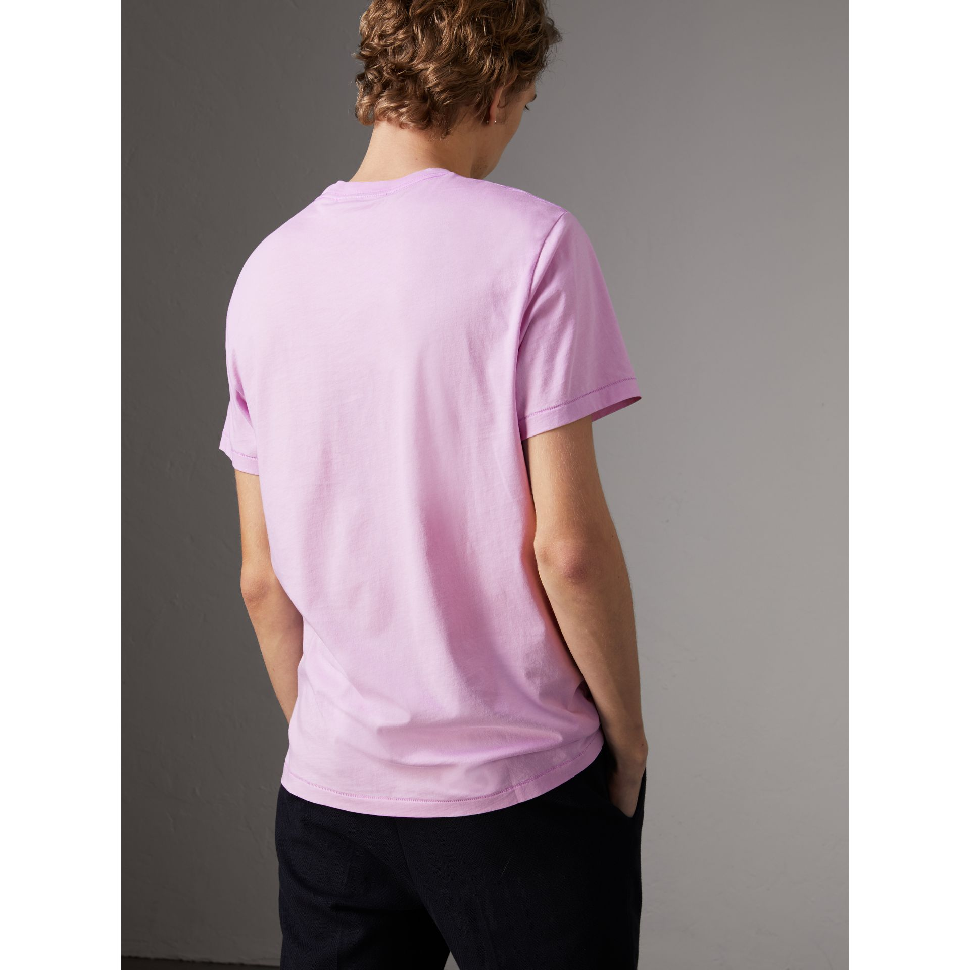 Cotton Jersey T-shirt in Pale Fuchsia - Men | Burberry - gallery image 2