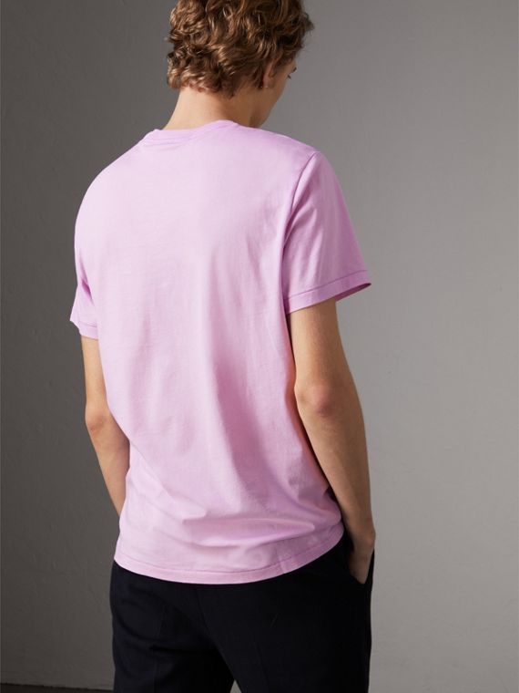 Cotton Jersey T-shirt in Pale Fuchsia - Men | Burberry Singapore - cell image 2