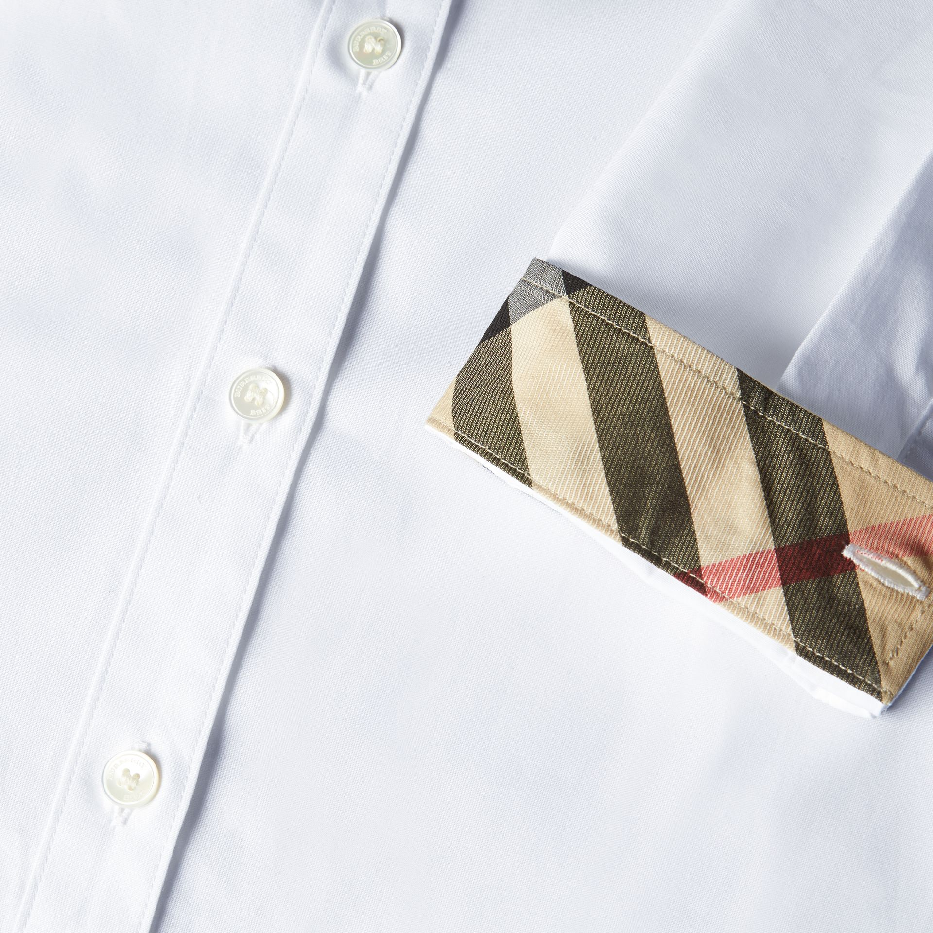 White Check Detail Stretch Cotton Shirt - gallery image 2