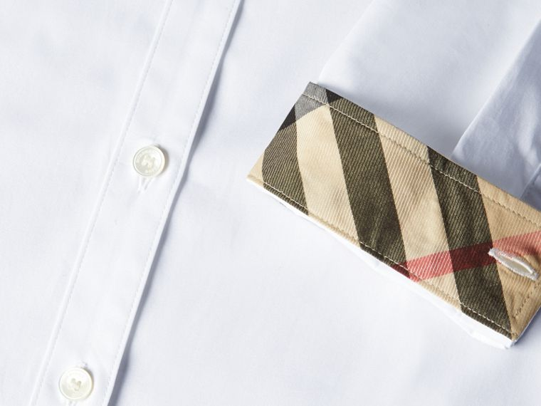 White Check Detail Stretch Cotton Shirt - cell image 1