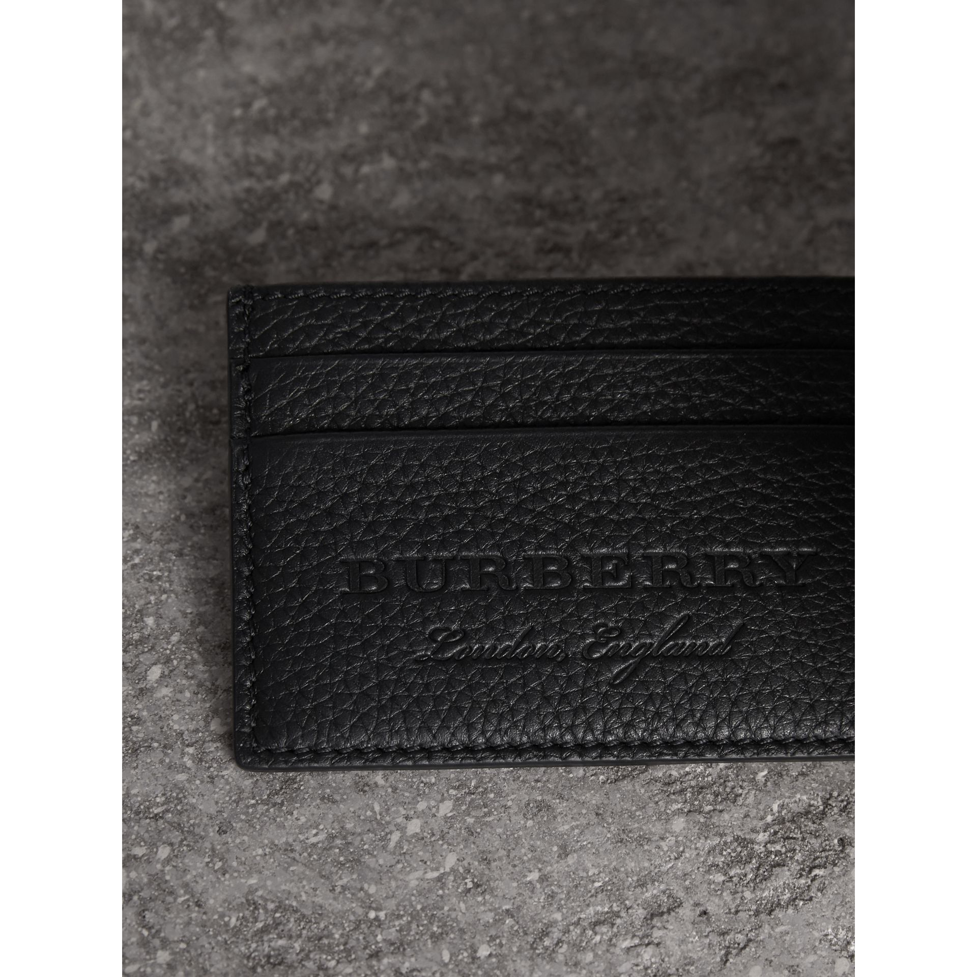 Textured Leather Card Case in Black - Men | Burberry - gallery image 1