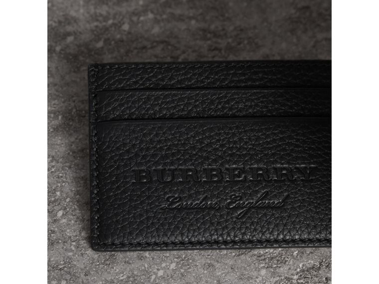 Textured Leather Card Case in Black - Men | Burberry United States - cell image 1