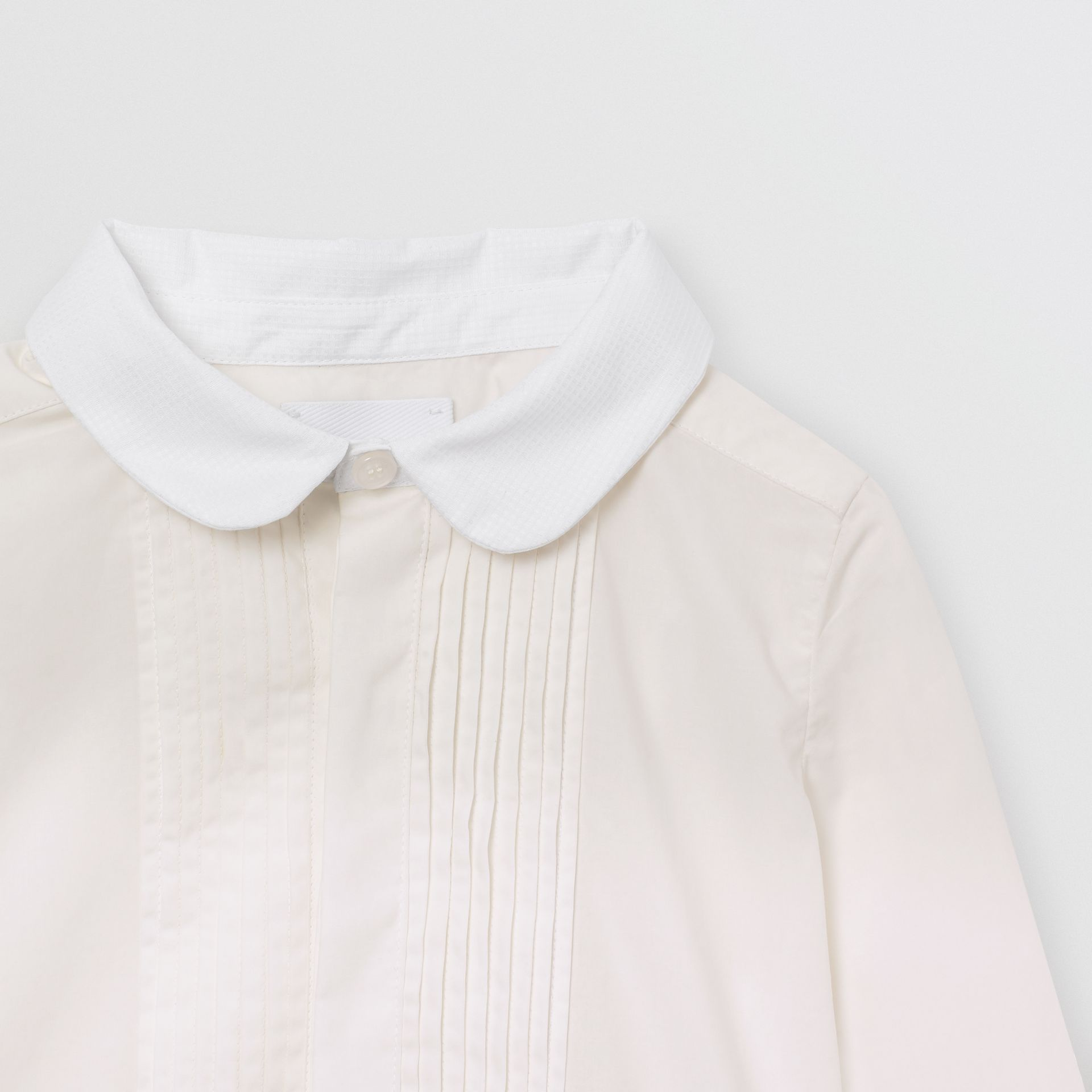 Pintuck Panel Stretch Cotton Poplin Shirt in White - Children | Burberry United States - gallery image 4