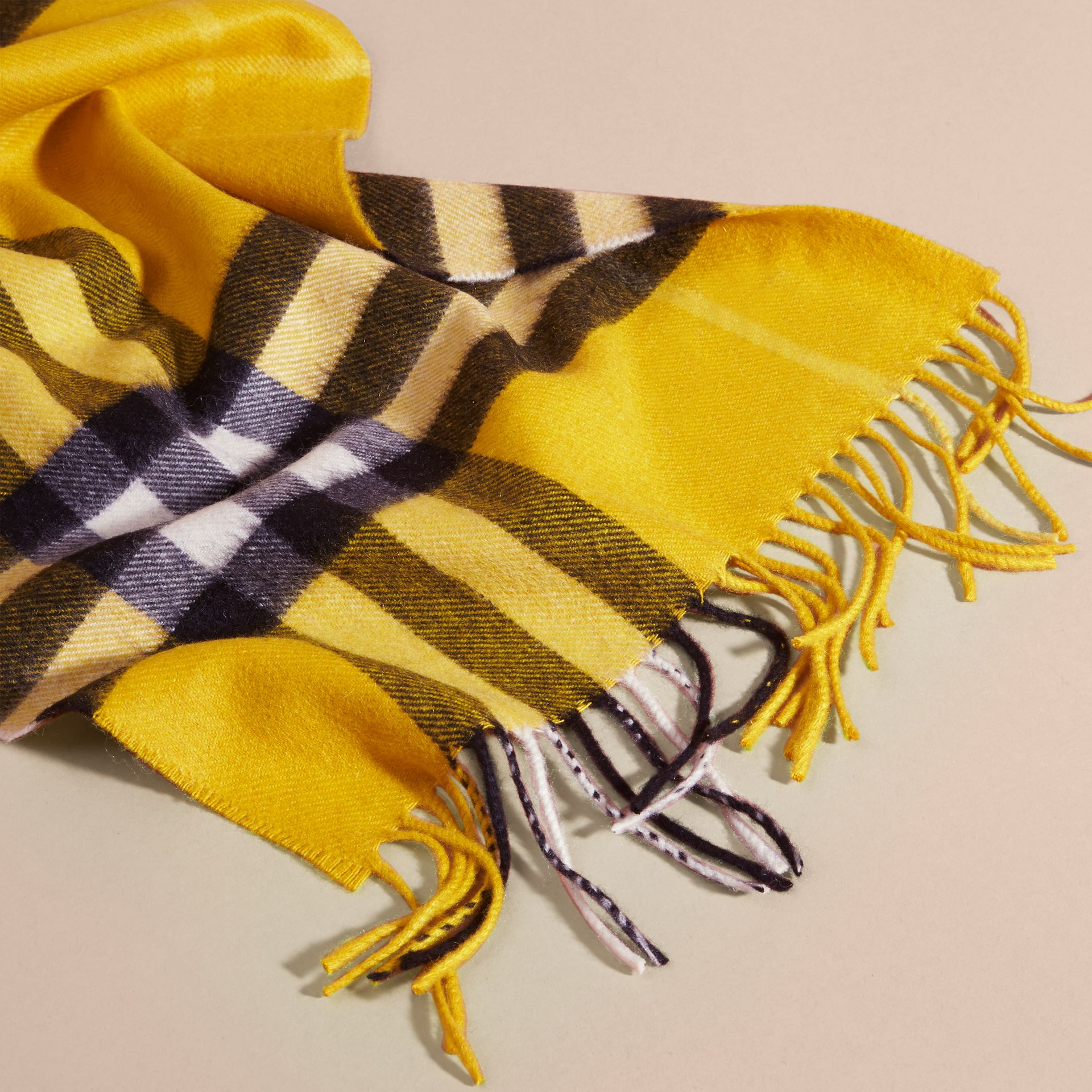 The Classic Check Cashmere Scarf in Gorse Yellow | Burberry United Kingdom - gallery image 4