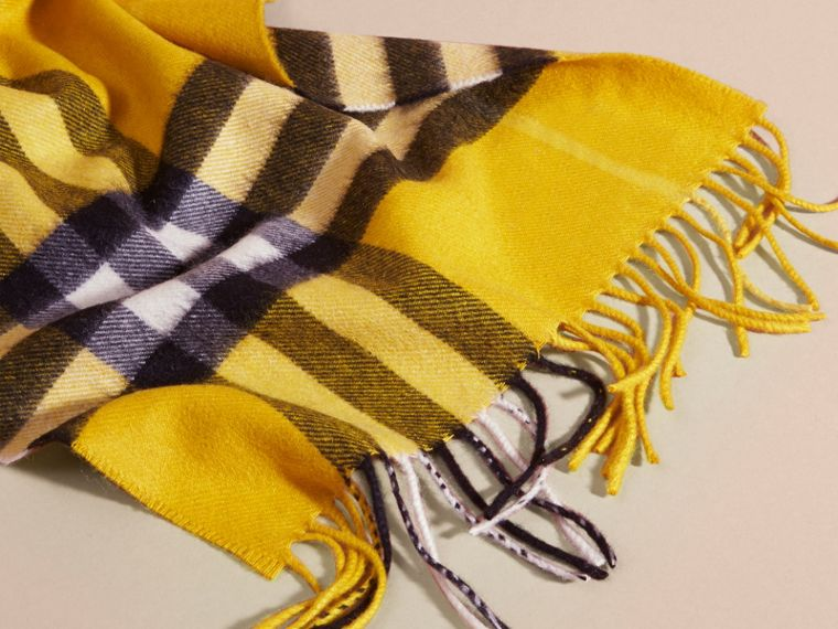 The Classic Check Cashmere Scarf in Gorse Yellow | Burberry Australia - cell image 4