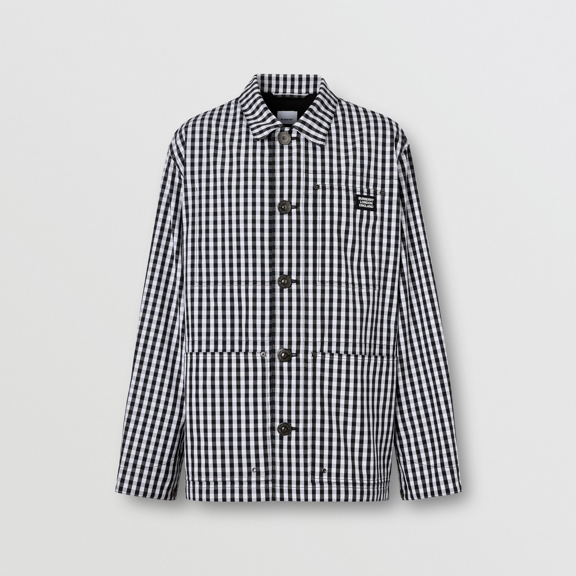 Pocket Detail Gingham Technical Wool Jacket in Black - Men | Burberry - gallery image 3
