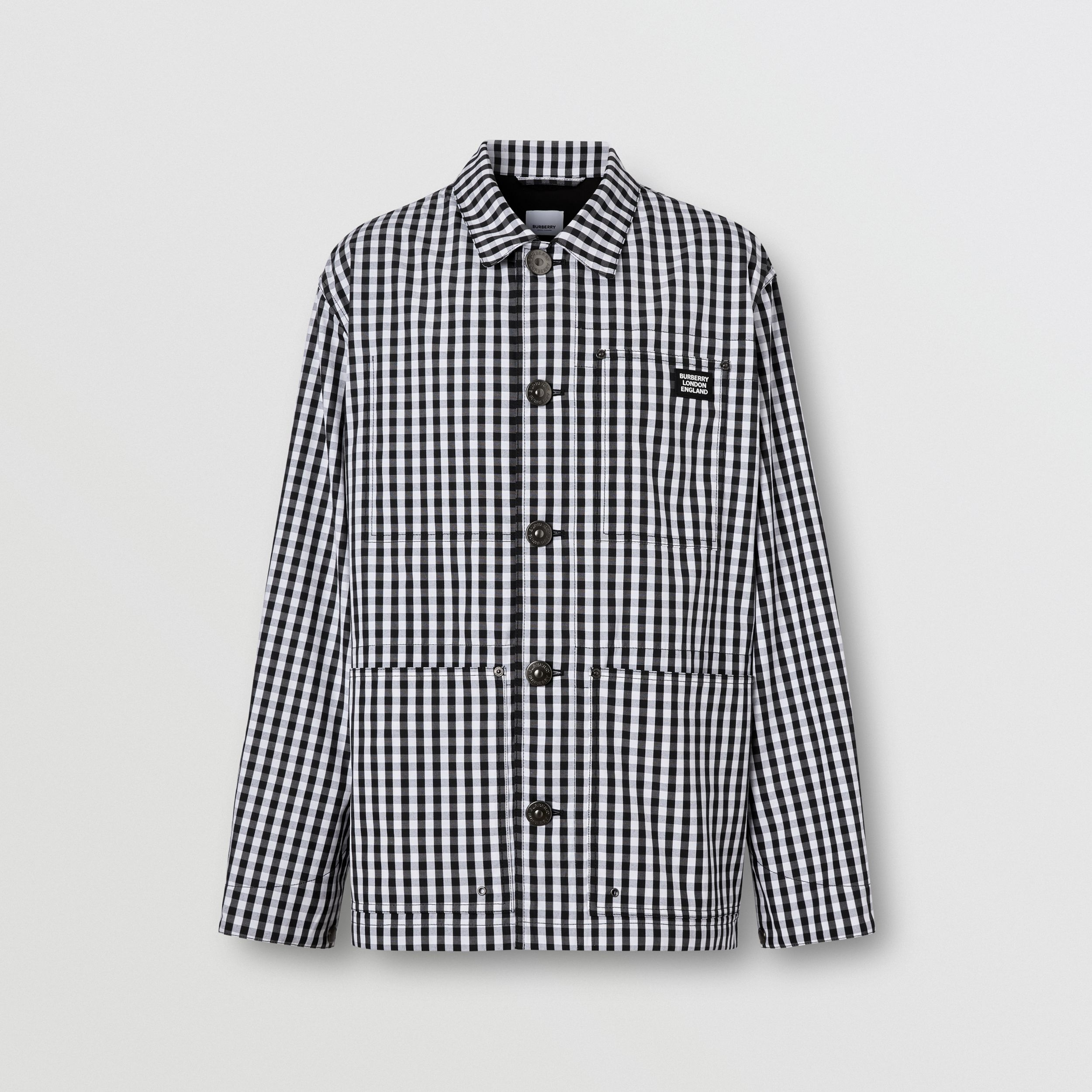 Pocket Detail Gingham Technical Wool Jacket in Black - Men | Burberry - 4