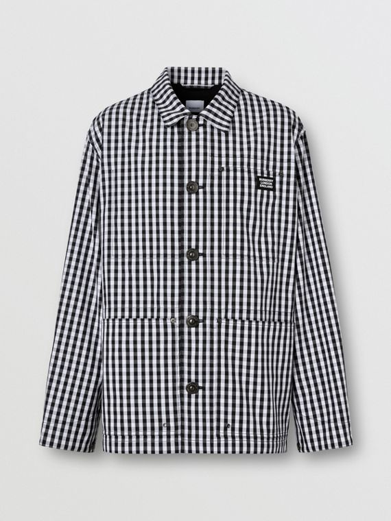 Pocket Detail Gingham Technical Wool Jacket in Black