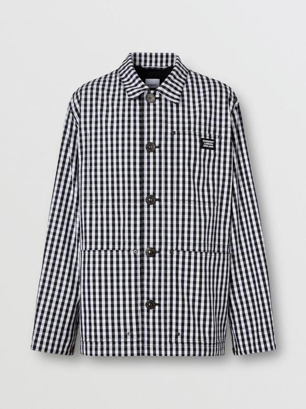 Pocket Detail Gingham Technical Wool Jacket in Black - Men | Burberry - cell image 3