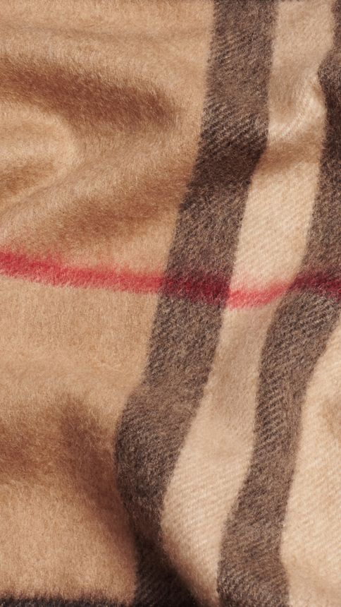 Camel check Exploded Check Cashmere Snood - Image 2