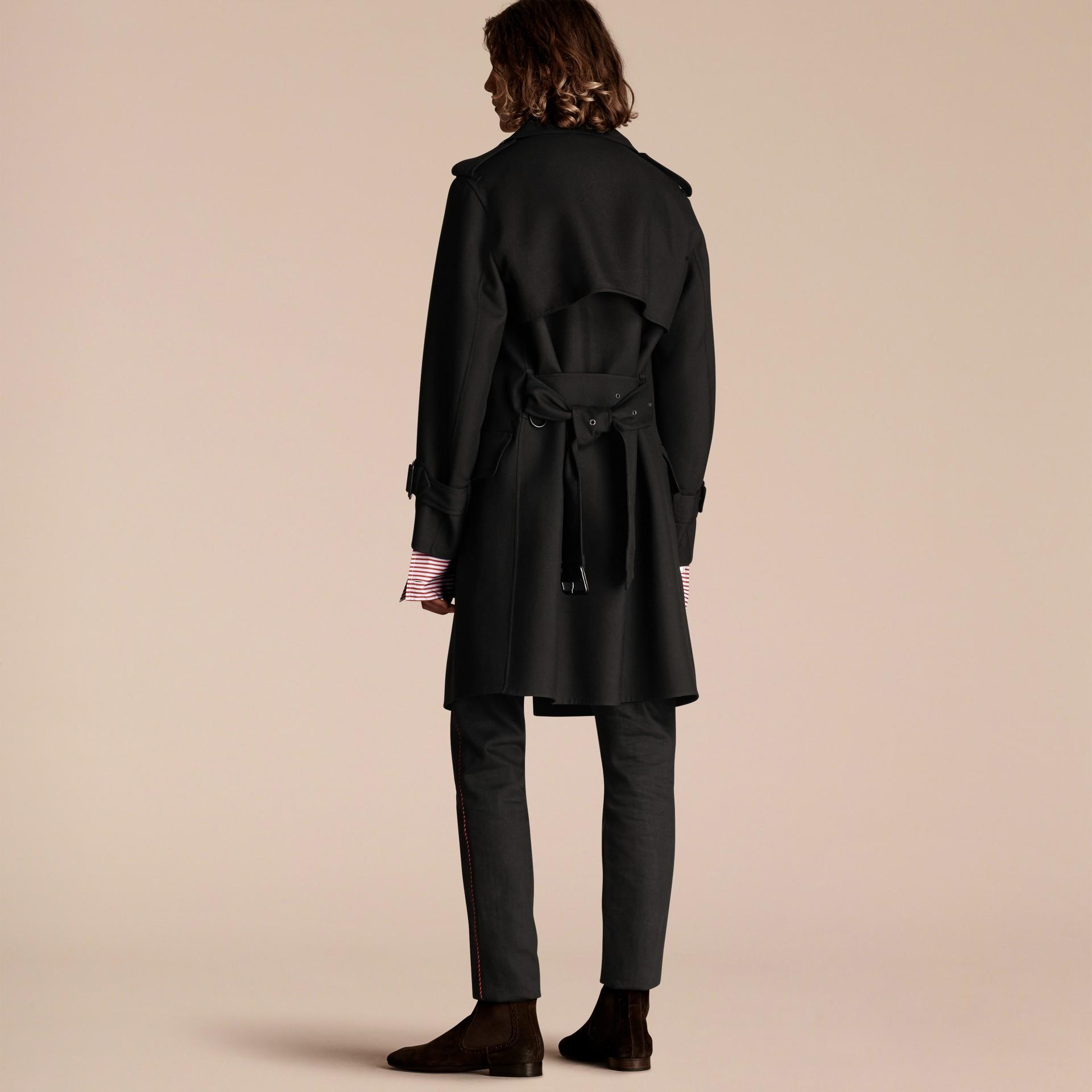 Nero Trench coat in twill di lana dal taglio comodo - immagine della galleria 3