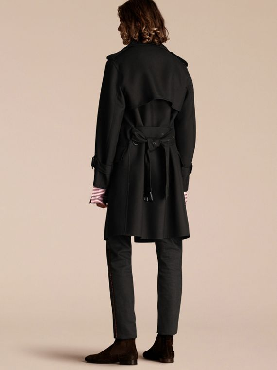 Black Relaxed Fit Wool Twill Trench Coat - cell image 2