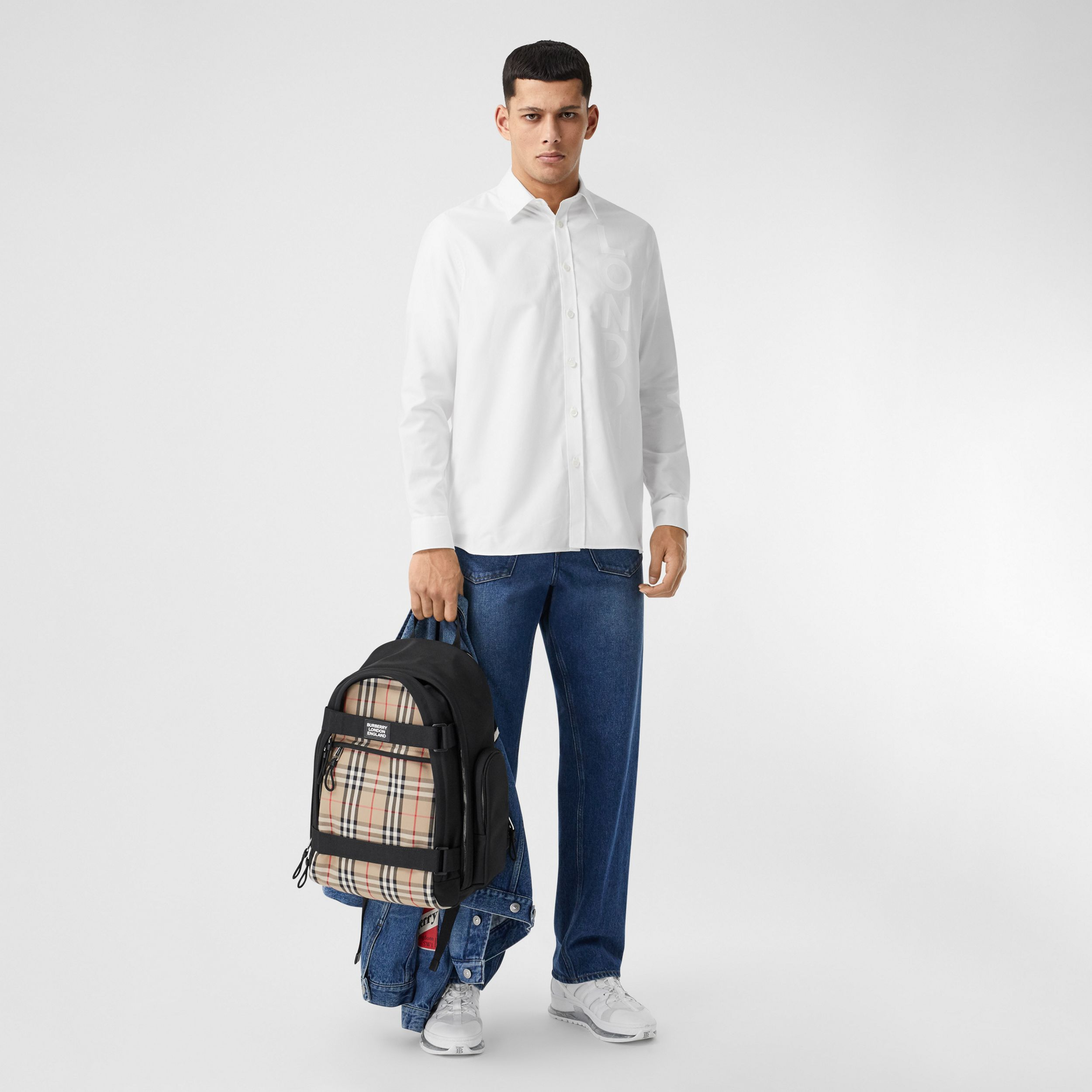London Print Cotton Oxford Oversized Shirt in White - Men | Burberry - 1