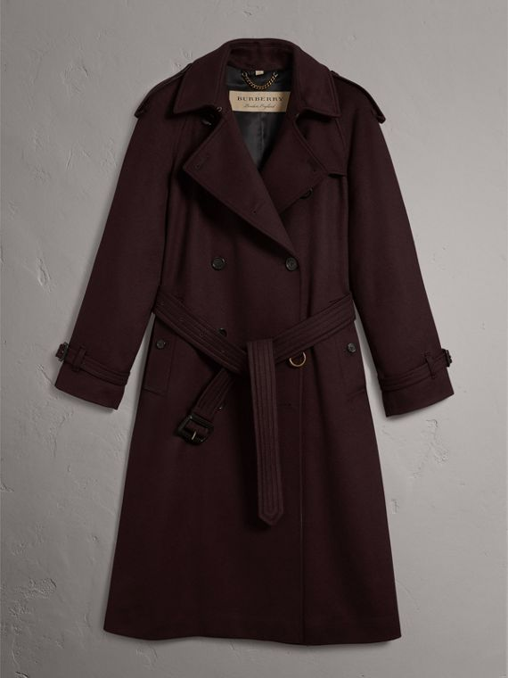 Cashmere Trench Coat in Blackcurrant - Women | Burberry - cell image 3