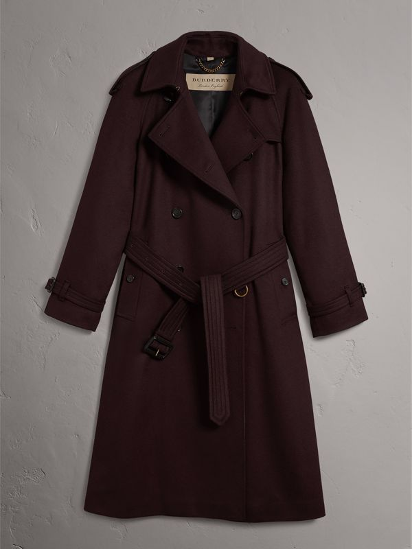 Cashmere Trench Coat in Blackcurrant - Women | Burberry United Kingdom - cell image 3