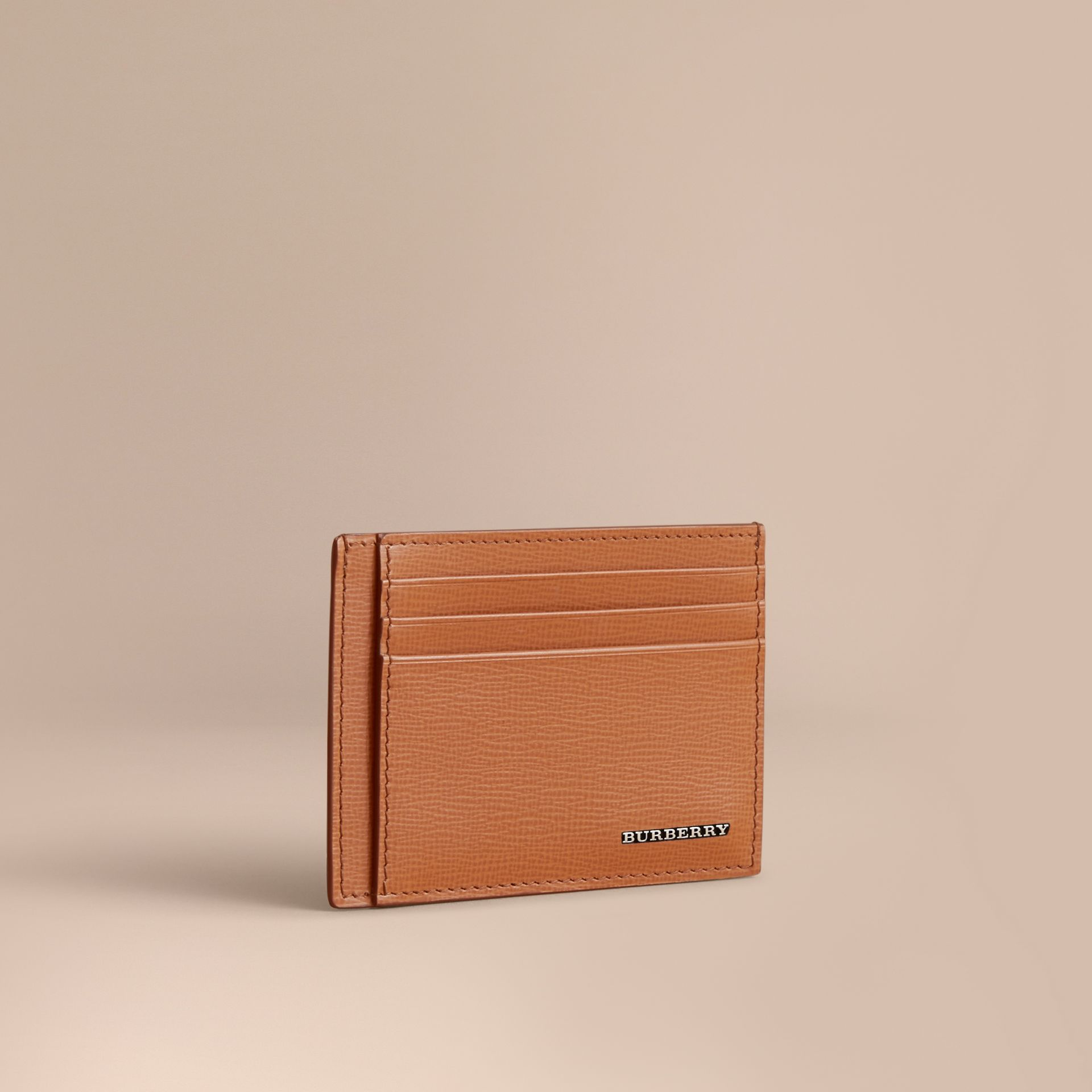 London Leather Card Case in Tan | Burberry - gallery image 1
