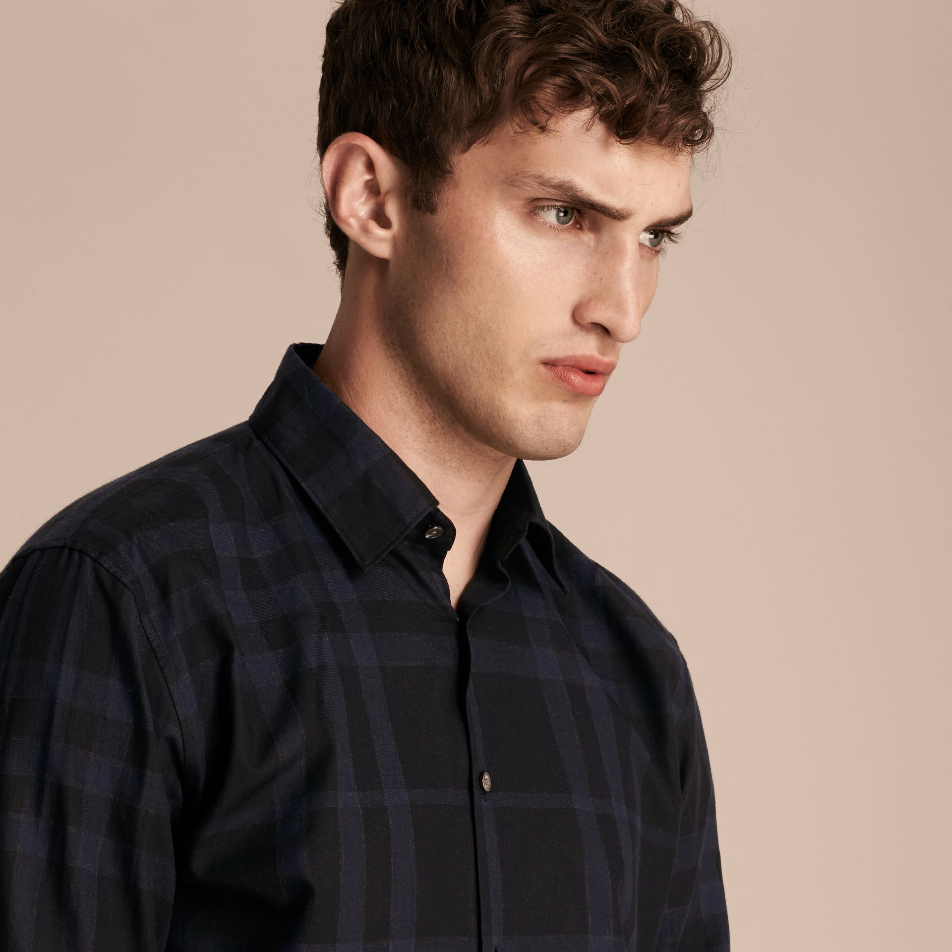 Bright navy Check Cotton Shirt - gallery image 5
