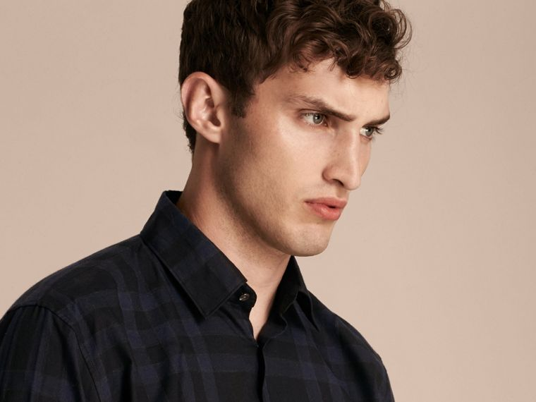 Navy intenso Camicia in cotone con motivo tartan Navy Intenso - cell image 4