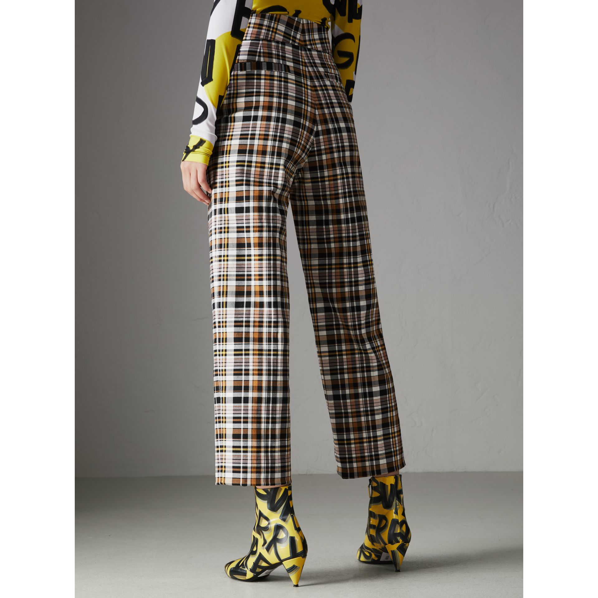 Check Stretch Cotton High-waisted Trousers in Bright Toffee - Women | Burberry Australia - gallery image 2
