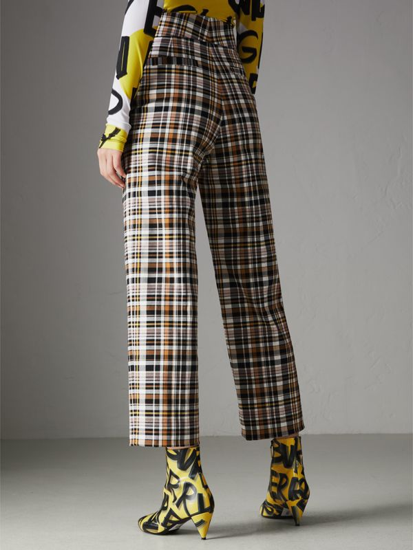 Check Stretch Cotton High-waisted Trousers in Bright Toffee - Women | Burberry - cell image 2