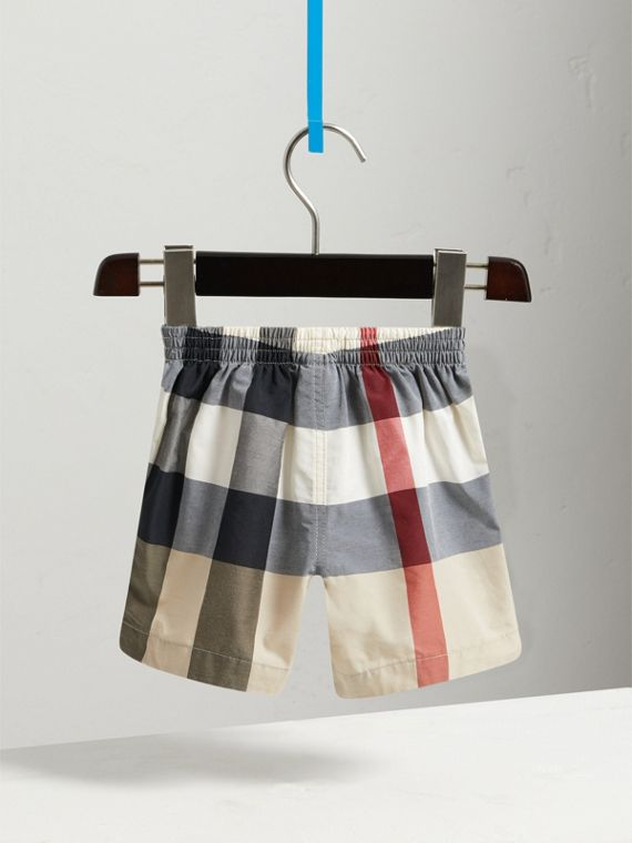 Check Technical Cotton Swim Shorts in New Classic | Burberry - cell image 3