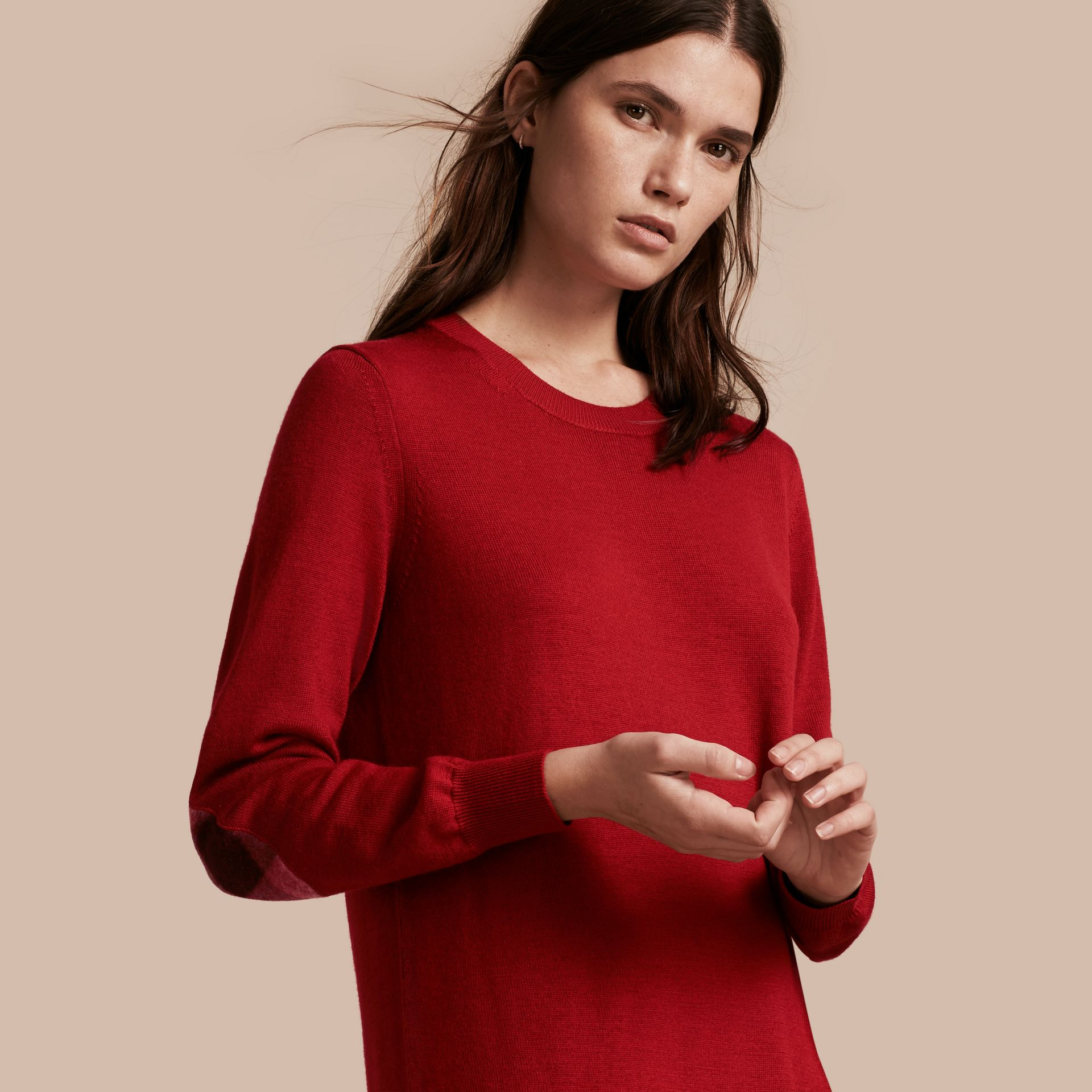 Check Elbow Detail Merino Wool Sweater Dress in Parade Red - gallery image 1