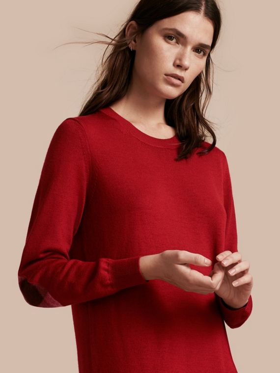 Check Elbow Detail Merino Wool Sweater Dress in Parade Red - Women | Burberry