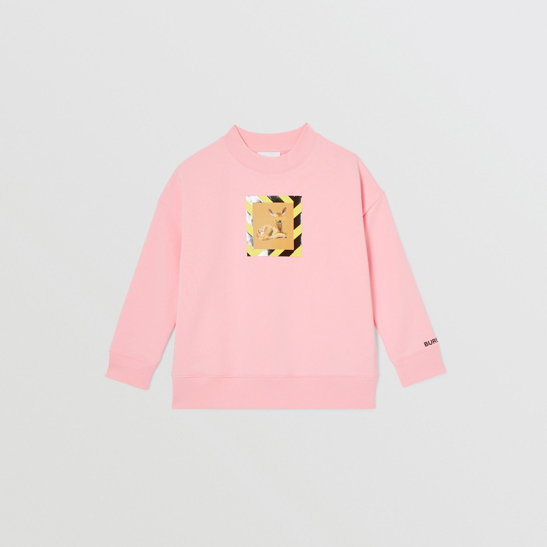 Deer Print Cotton Sweatshirt in Candy Pink | Burberry Australia - gallery image 0