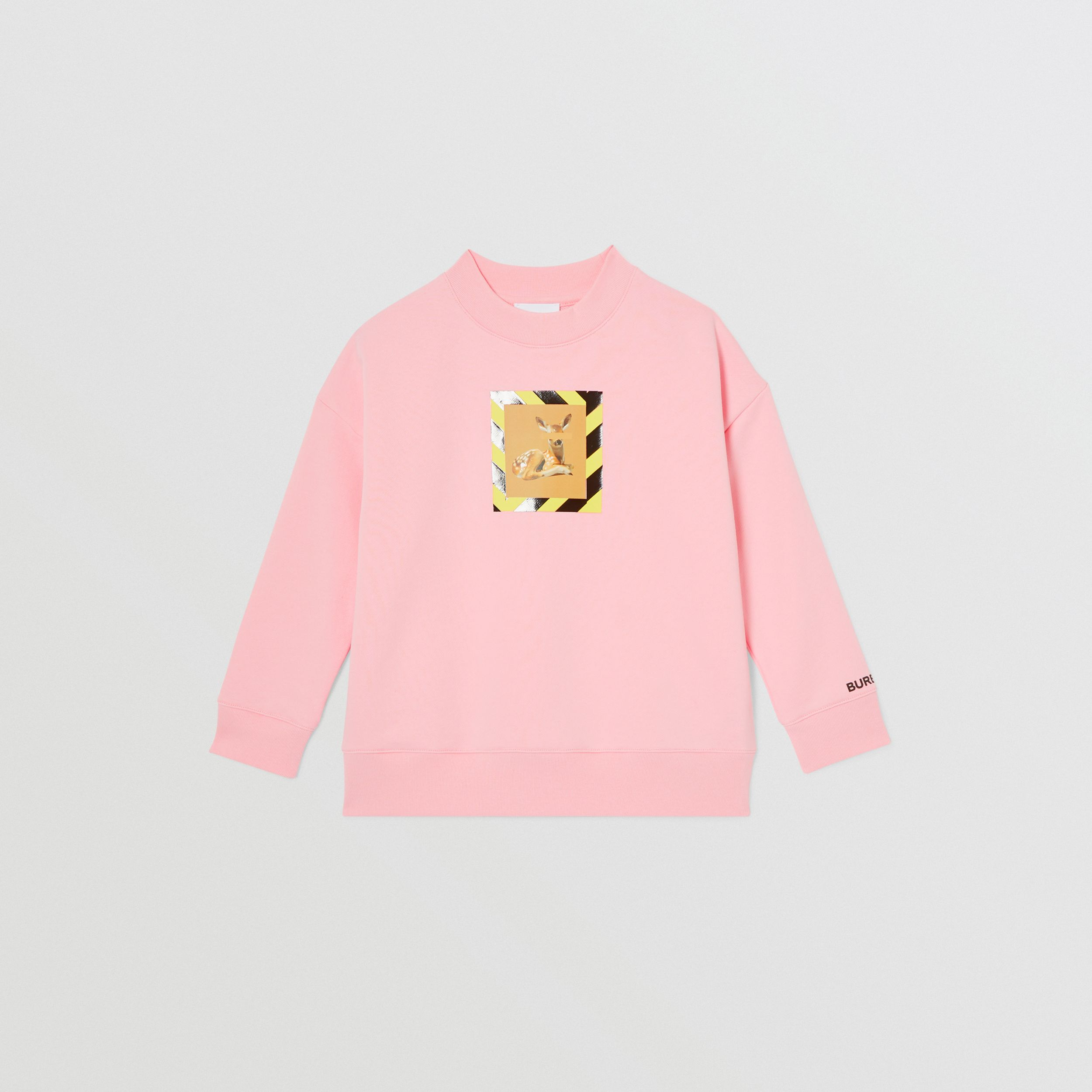 Deer Print Cotton Sweatshirt in Candy Pink | Burberry - 2