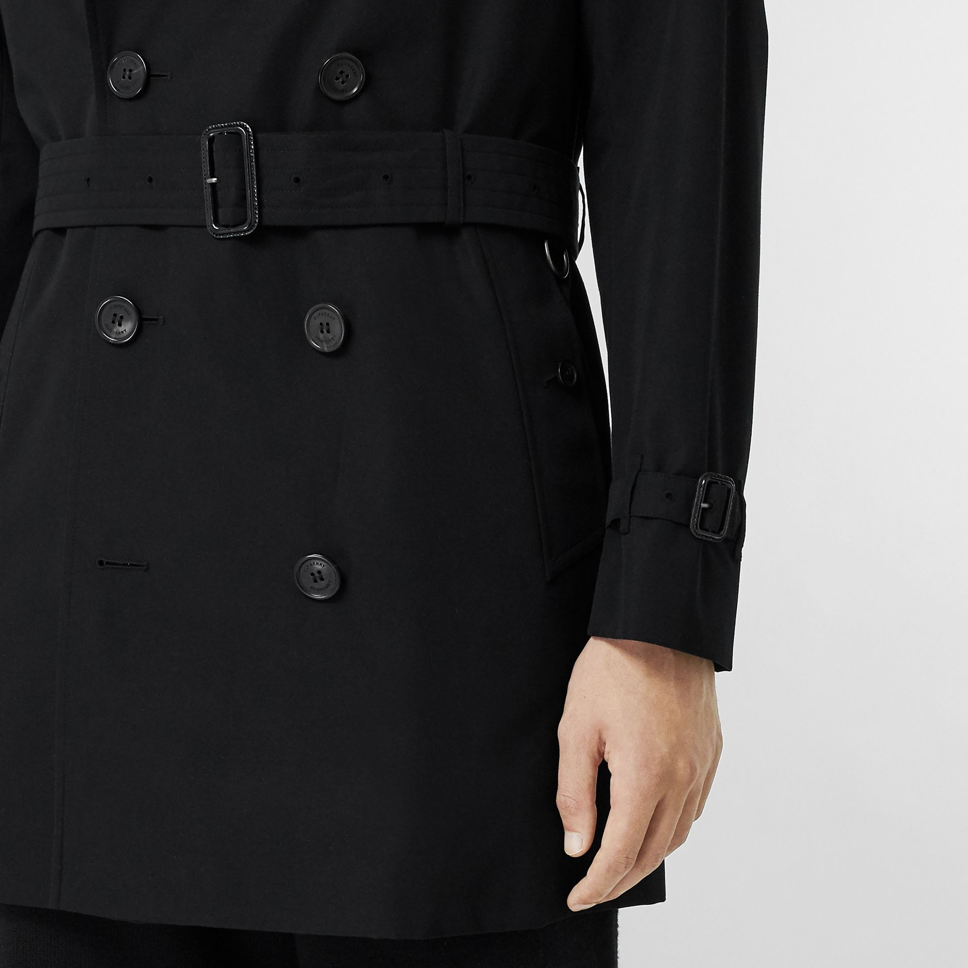 Cotton Gabardine Trench Coat in Black - Men | Burberry United Kingdom - gallery image 4