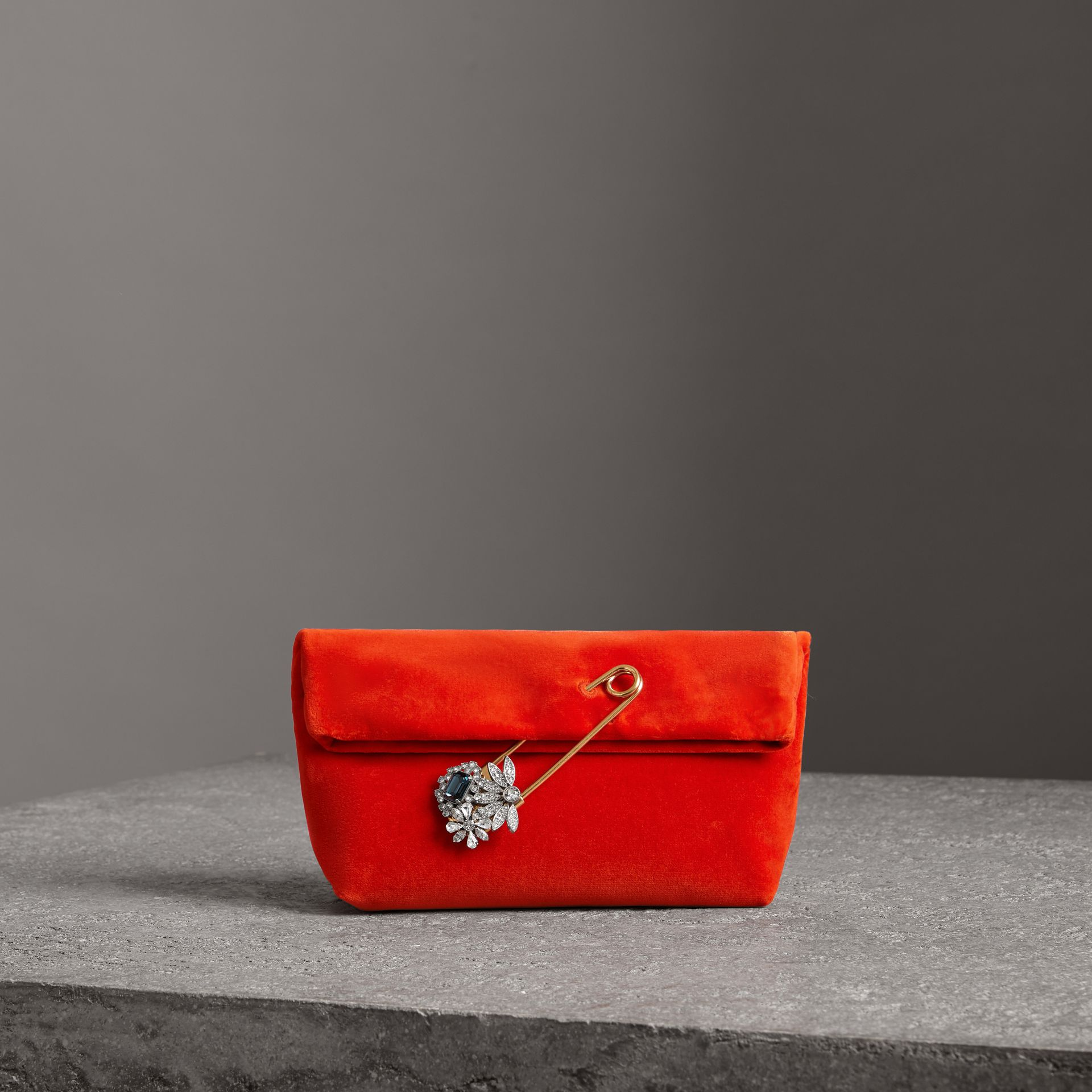 The Small Pin Clutch in Velvet in Orange Red - Women | Burberry United Kingdom - gallery image 0