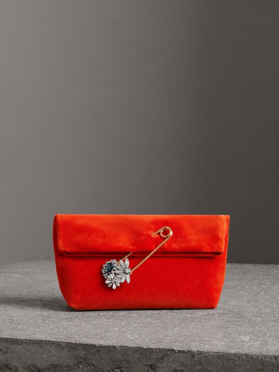 The Small Pin Clutch in Velvet in Orange Red