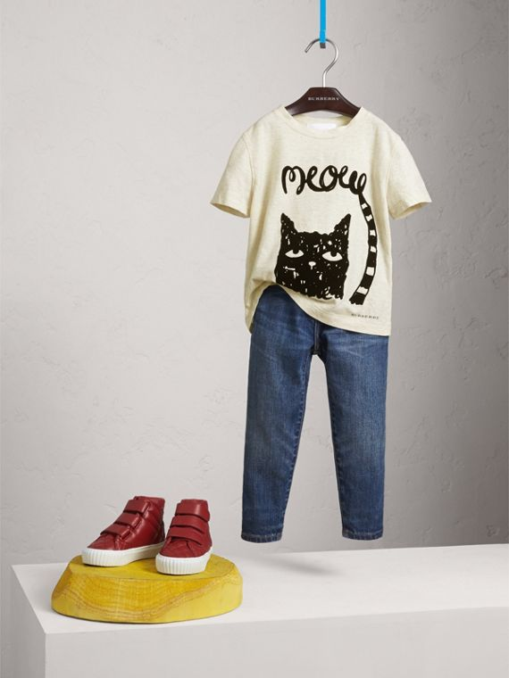 Meow Print Cotton T-shirt in Natural Melange