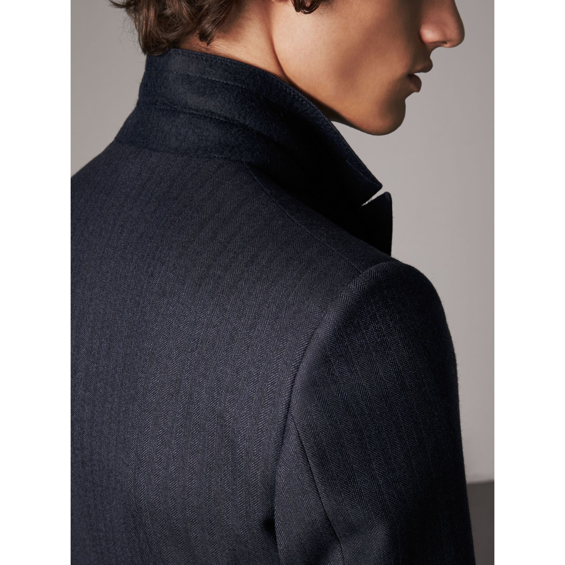 Slim Fit Double-breasted Herringbone Wool Suit in Ink Blue - Men | Burberry - gallery image 5