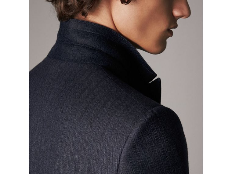 Slim Fit Double-breasted Herringbone Wool Suit in Ink Blue - Men | Burberry Canada - cell image 4