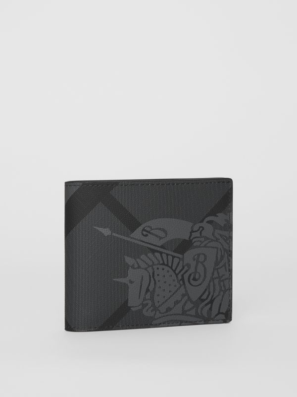 EKD London Check International Bifold Wallet in Charcoal/black - Men | Burberry Canada - cell image 3