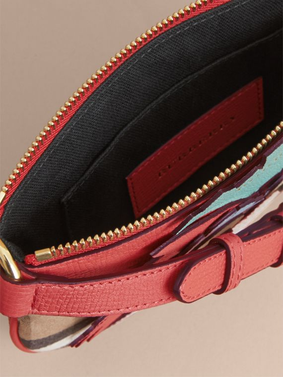House Check and Leather Crossbody Bag in Cinnamon Red - Girl | Burberry - cell image 3