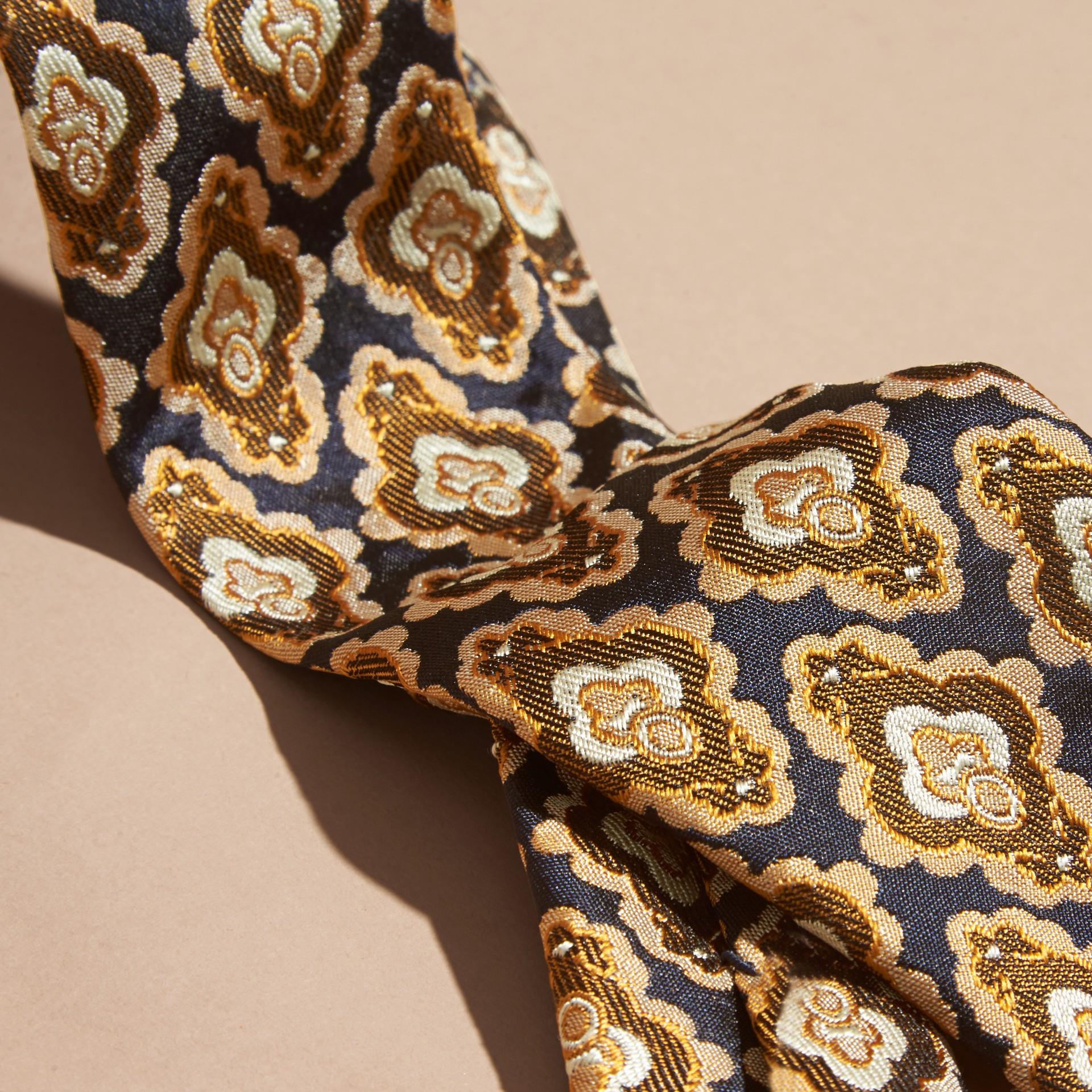 Navy Slim Cut Decorative Jacquard Silk Tie Navy - gallery image 2