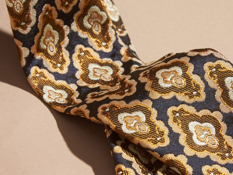 Navy Cravatta dal taglio sottile in seta jacquard con decorazioni Navy - cell image 1