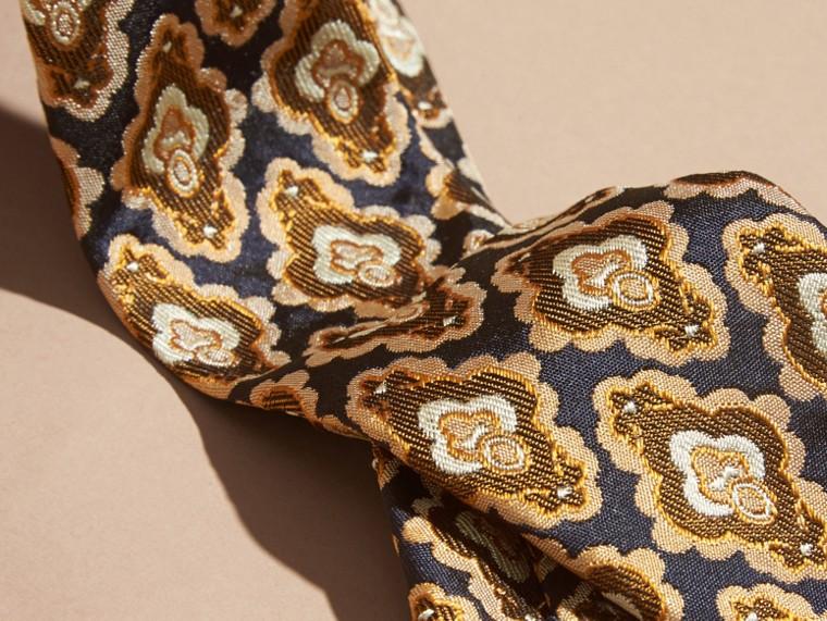 Navy Slim Cut Decorative Jacquard Silk Tie Navy - cell image 1